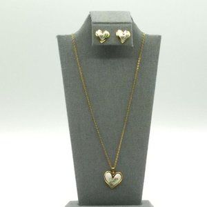 Jewelry - 10K Yellow Gold Vintage Enamel Guilloche Heart Set